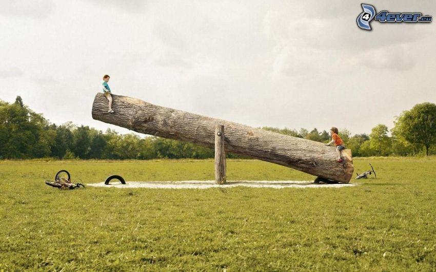 children, swing, branch