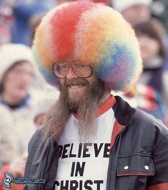 colored hair, beard, glasses