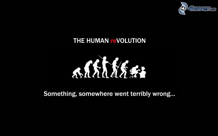 evolution, silhouettes of people, text