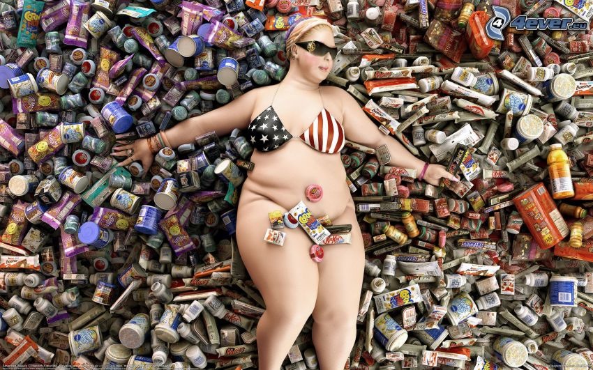 fat woman, candy, cans, USA