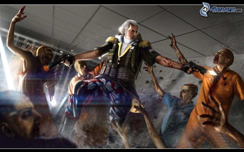 George Washington, pistols, zombie