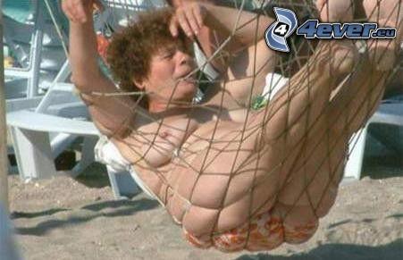hammock, fat woman, old woman