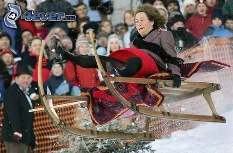 ice sledding, woman, snapshot