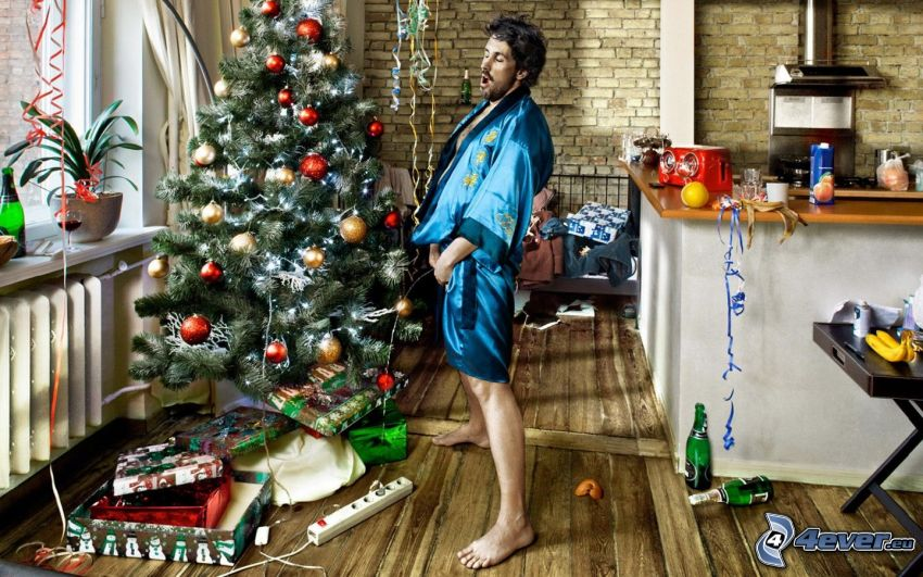 man, christmas tree