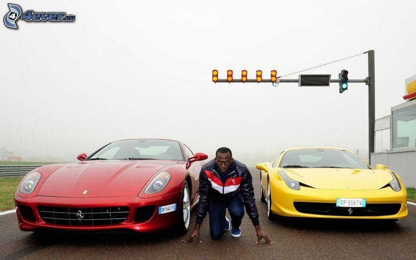 race, Usain Bolt, runner, black man, Ferrari 458 Italia, Ferrari 599 GTB Fiorano, traffic light