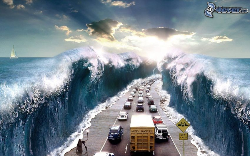 splitting the sea, highway, sea, Moses