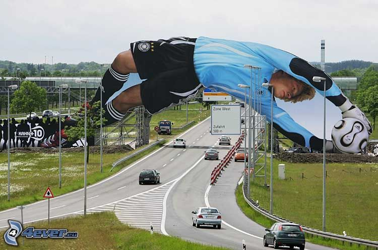 advertising, footballer, Oliver Kahn, road, cars