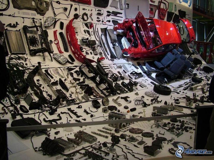 dismantled car, parts