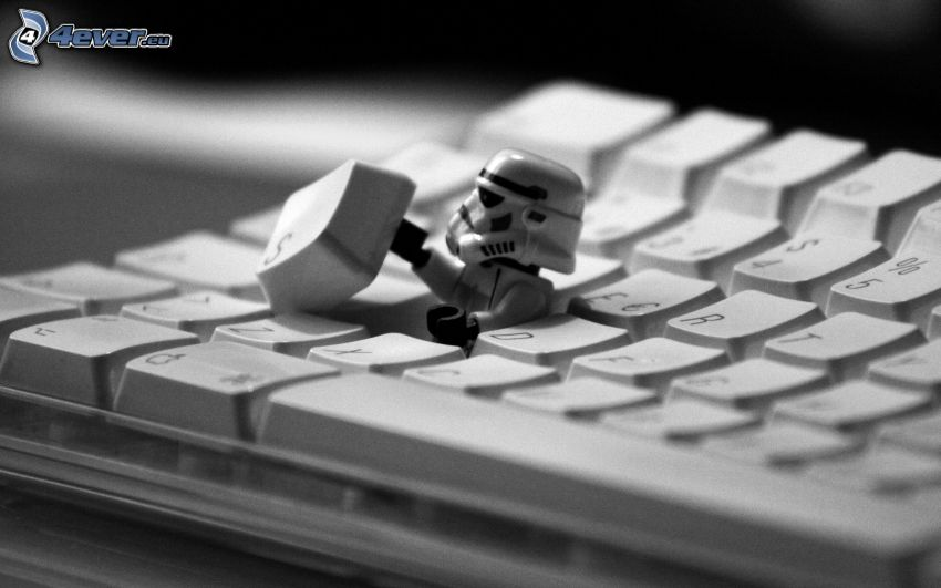 Stormtrooper, keyboard, Star Wars, parody