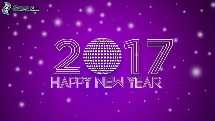 2017, happy new year, purple background