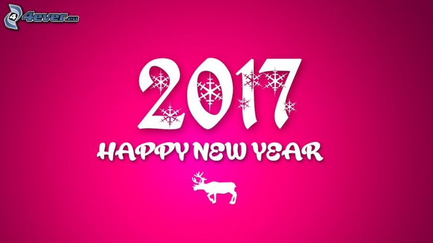 2017, happy new year, reindeer, pink background