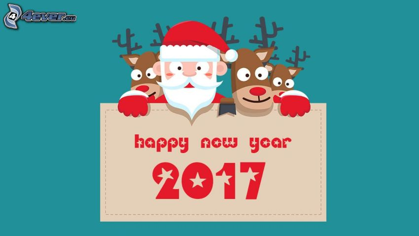 2017, happy new year, Santa Claus, reindeers