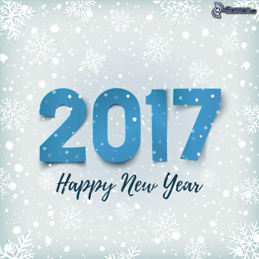 2017, happy new year, snowflakes