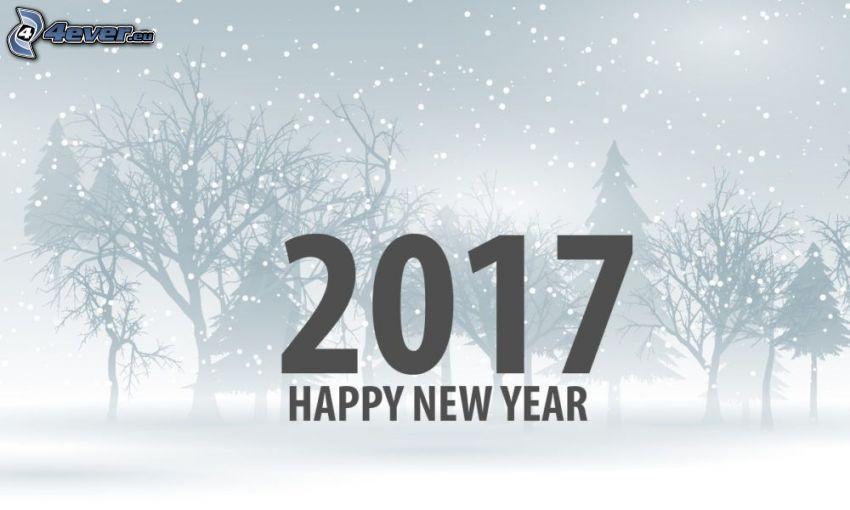 2017, happy new year, snowy trees