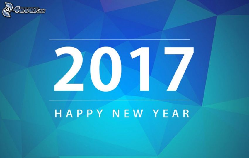 2017, happy new year, triangle, blue background