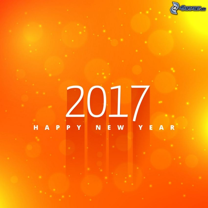2017, happy new year, yellow background