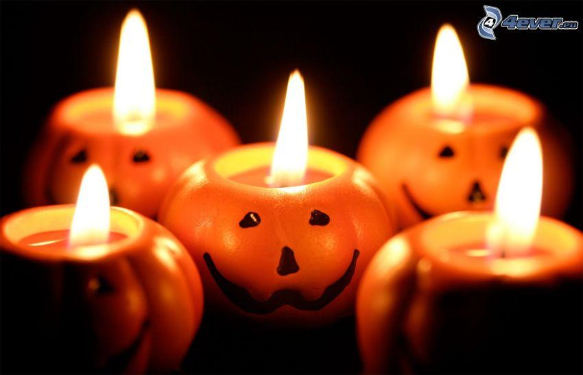 candles, halloween pumpkins