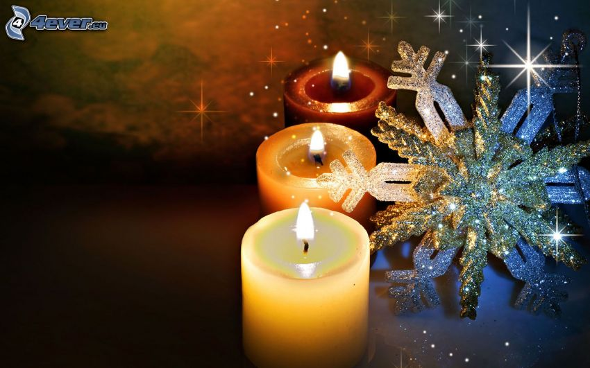 candles, snow flake