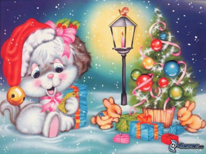 christmas, cartoon cat, christmas tree, cartoon bunnies