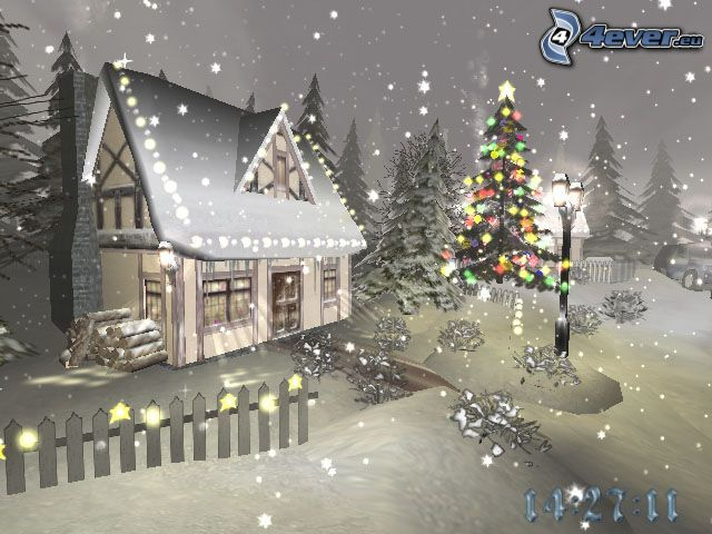 christmas, lights, cottage, snow