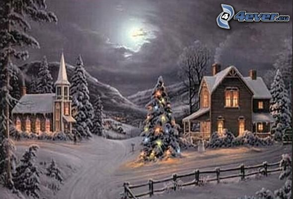 christmas, snow, christmas tree, church, moon, Thomas Kinkade