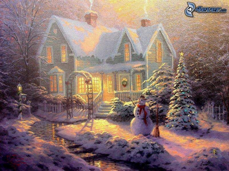 christmas, snowman, snow, cartoon house, snowy house, Thomas Kinkade