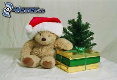 christmas, teddy bear, Santa Claus hat, gift