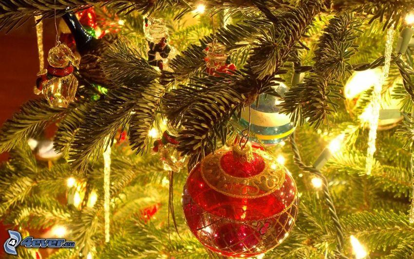 christmas ball, conifer twig