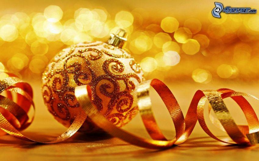 christmas ball, ribbon