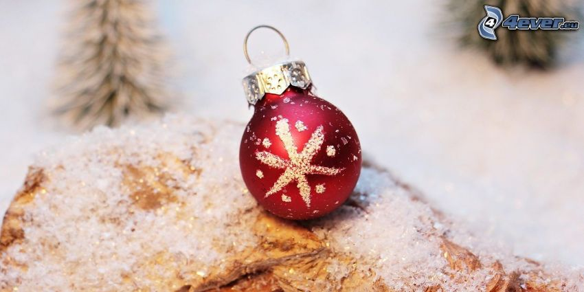 christmas ball, snow