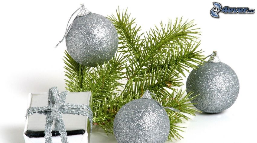 christmas balls, conifer twig, gift