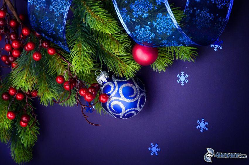 christmas balls, coniferous branches, ribbon