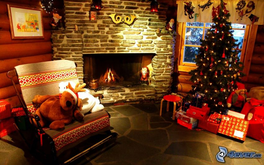 christmas decorated room, christmas tree, gifts, fireplace, comfort