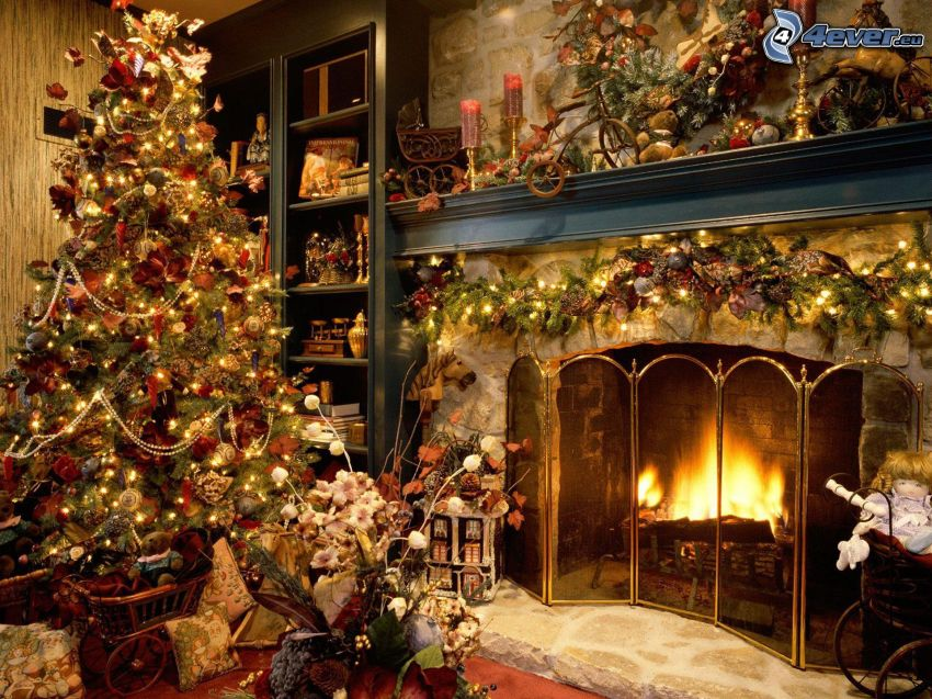christmas decorated room, fireplace, christmas tree