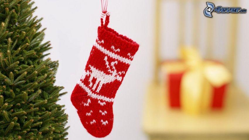 christmas sock, christmas tree
