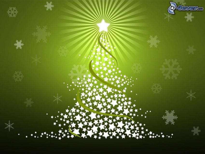 christmas tree, background, stars