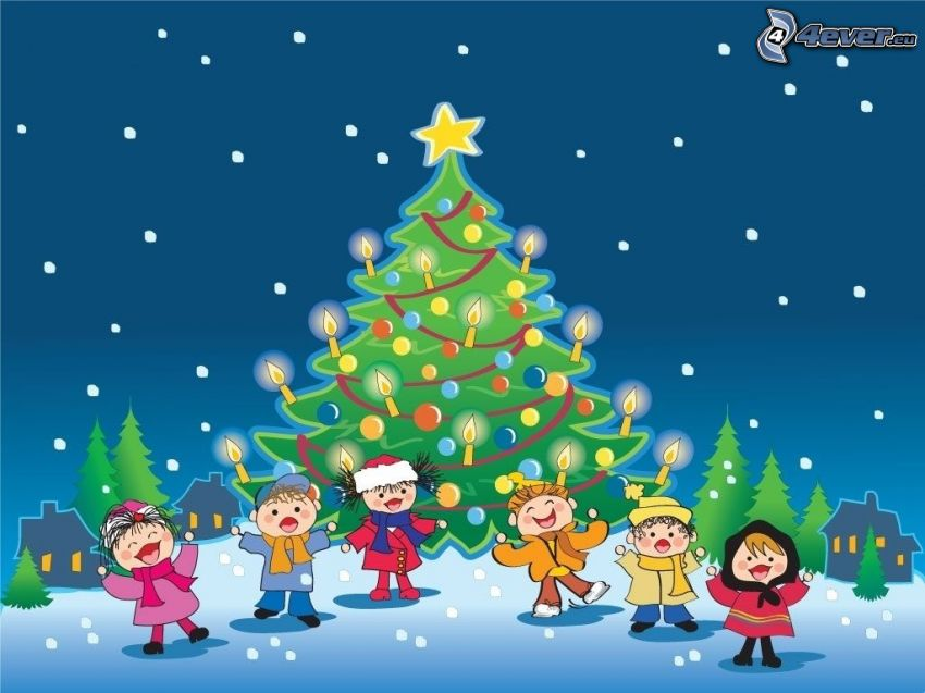 christmas tree, cartoon children, snow
