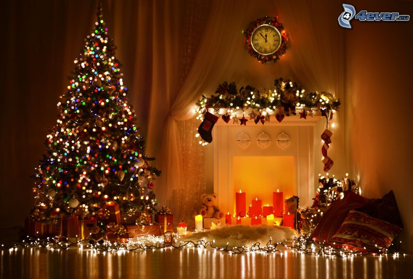 christmas tree, fireplace, candles, lights, clock