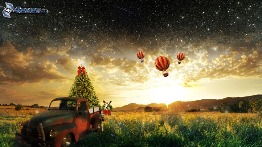 christmas tree, old car, balloons, starry sky, sunbeams, clouds, meadow