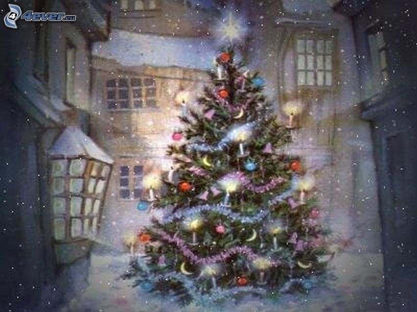 christmas tree, snow, winter, Thomas Kinkade