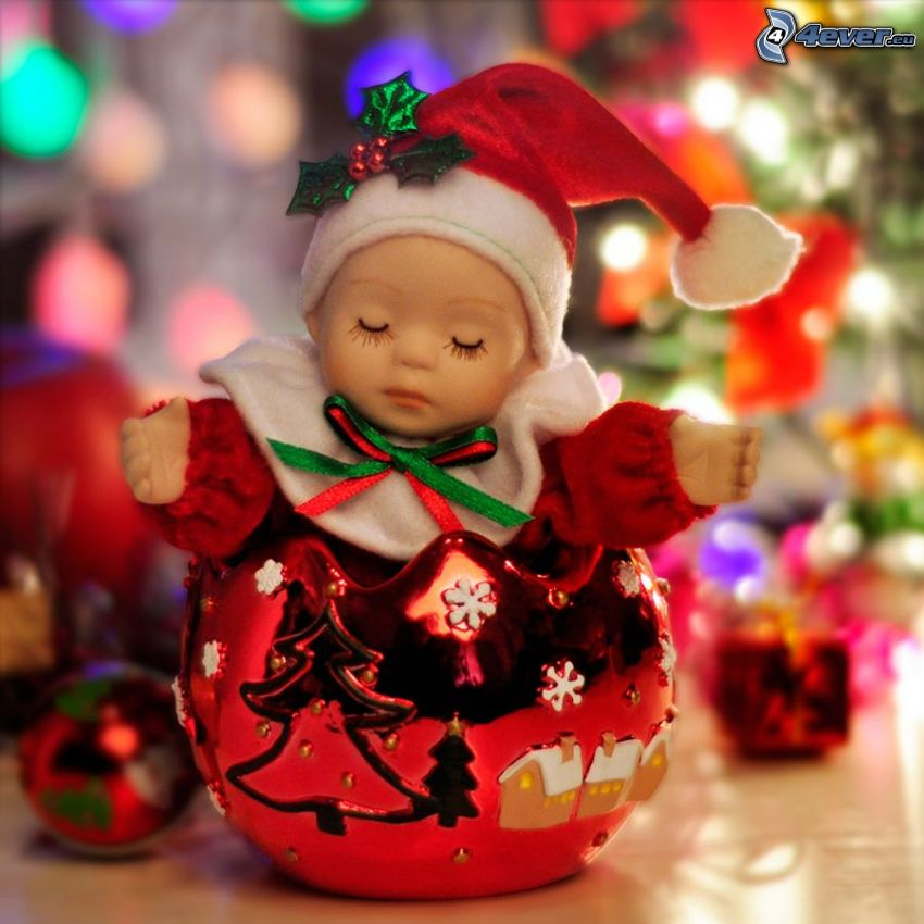 doll, christmas ball, christmas tree, sleep
