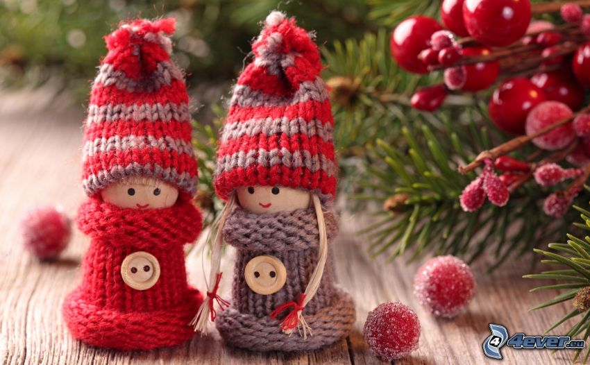 figures, christmas tree, hat, sweater