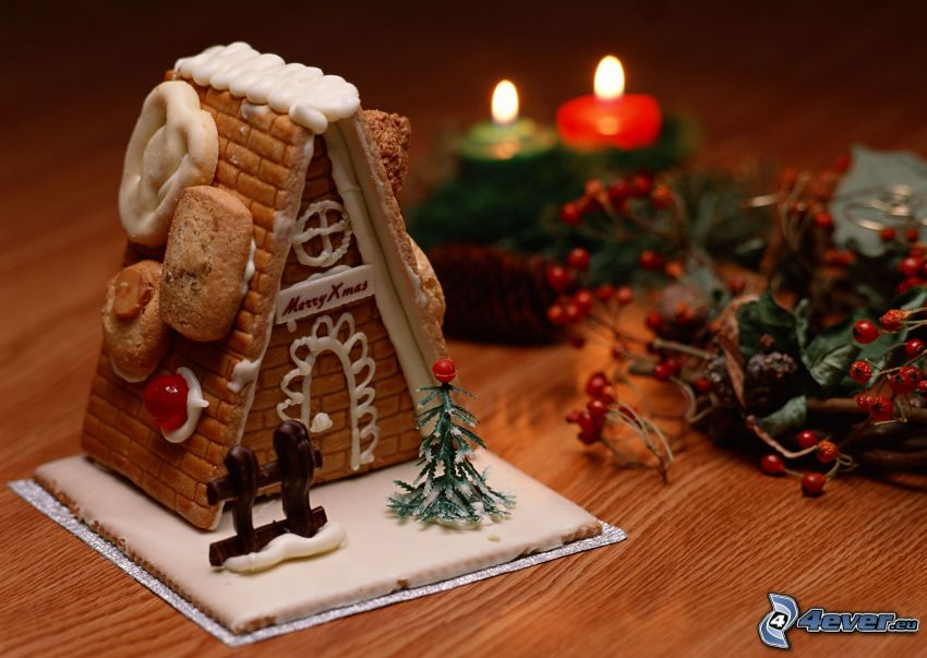 gingerbread houses, candles