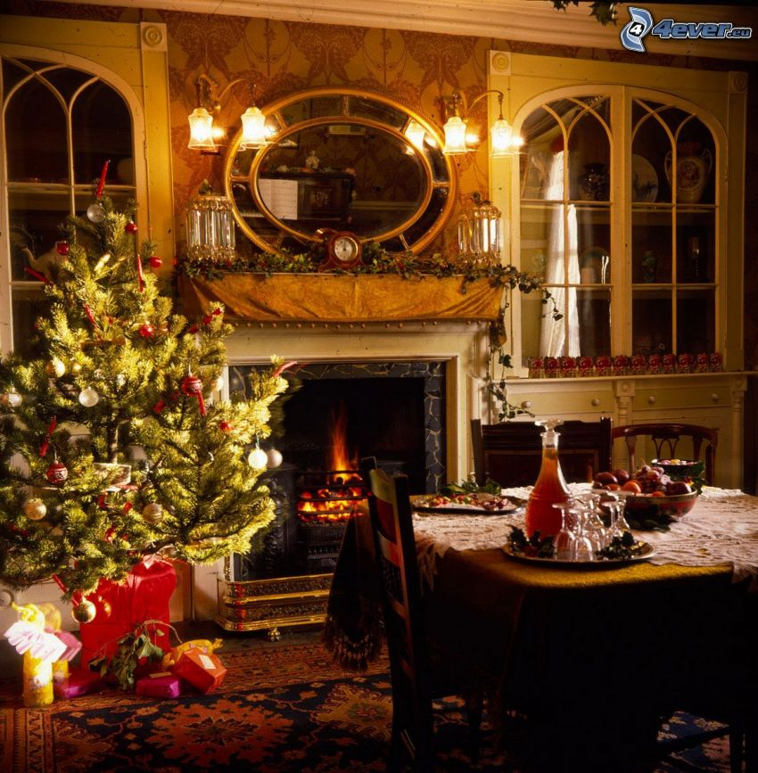 living room, fireplace, christmas tree, table