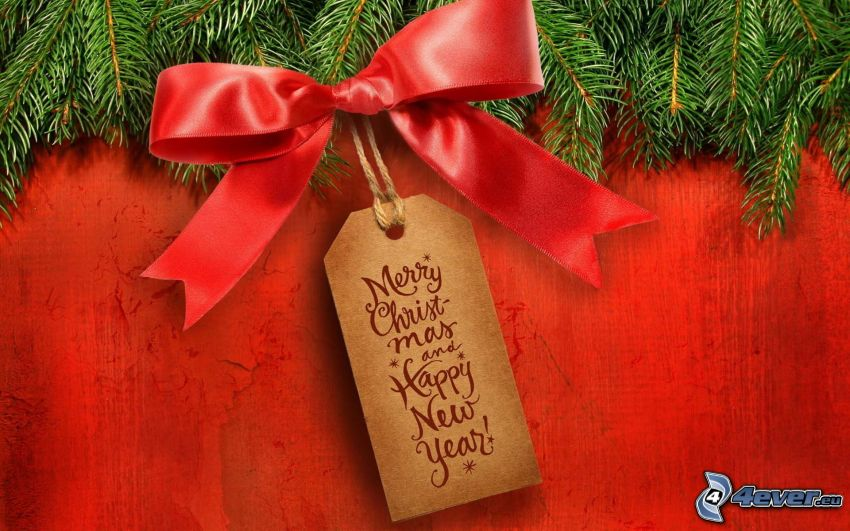 Merry Christmas, happy new year, ribbon, banner, conifer twig