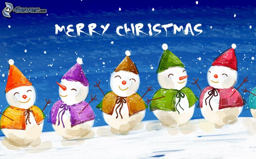 Merry Christmas, snowmen, cartoon