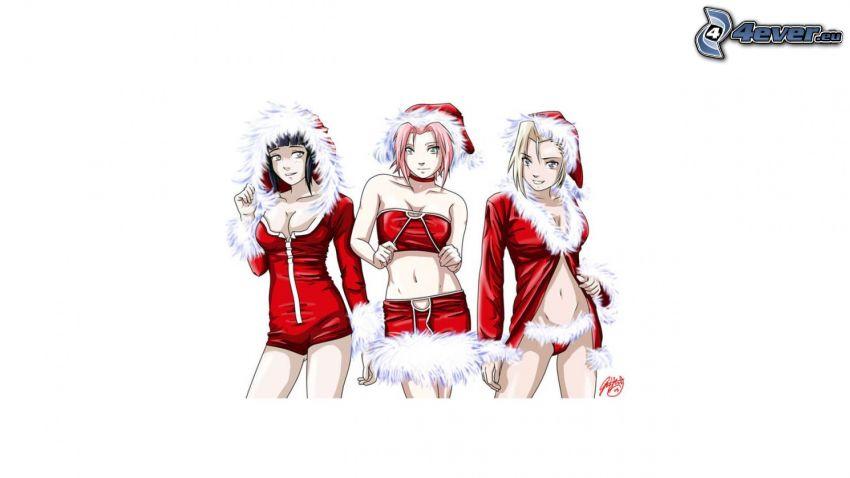 Naruto Christmas, christmas, Hinata Hyuga, Sakura Haruno, Inu Yamanaka