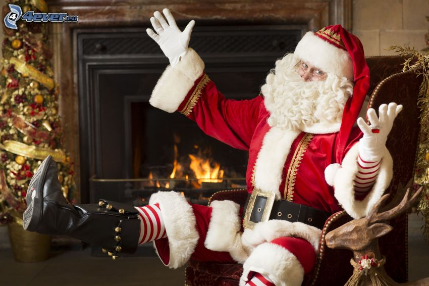 Santa Claus, fireplace