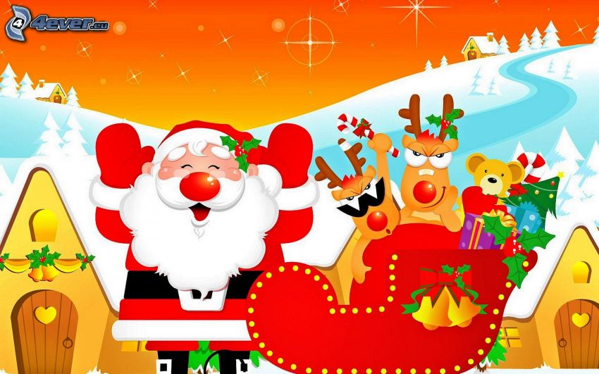 Santa Claus, reindeers, sled, snow, cartoon