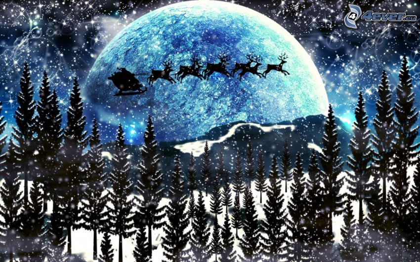 Santa Claus, reindeers, snowy landscape, moon, cartoon